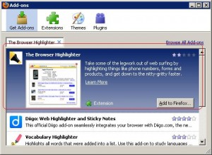 Browser Highlighter Installing from FireFox Addon