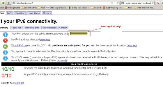Test via http://test-ipv6.com/