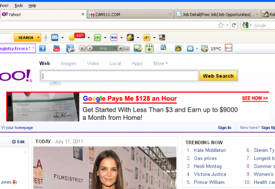 newsdaily7.com scams on Yahoo home page via Softonic-Eng7 Community Toolbar