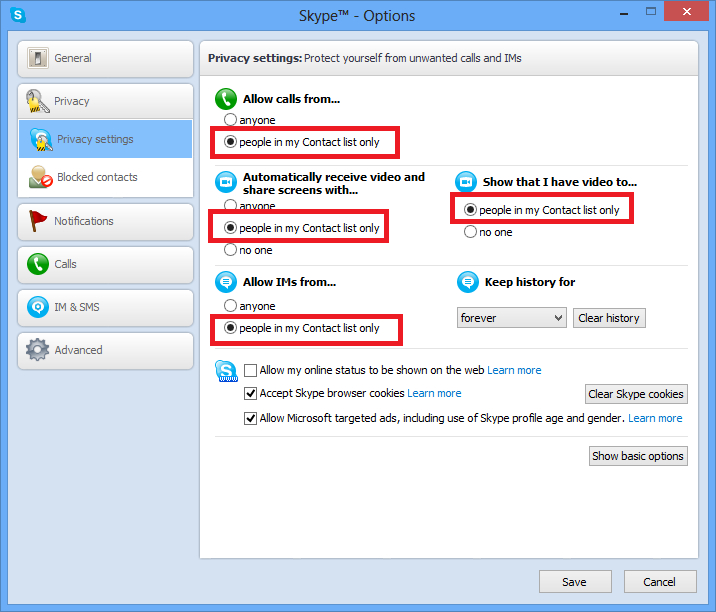 Skype Privacy Settings on Windows